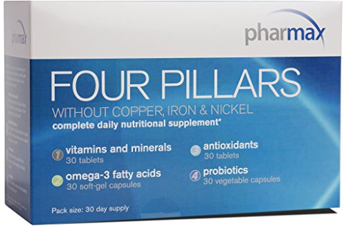 Pharmax - Four Pillars Without Copper, Iron & Nickel - Complete Daily Nutritional Supplement - 30 Day Pack ()