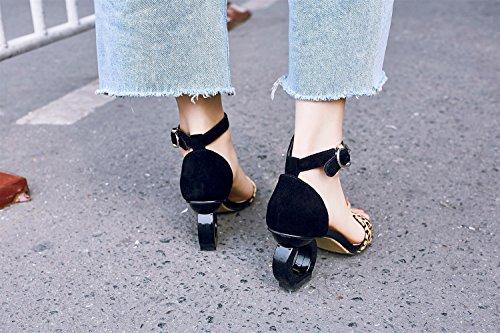 Sandalias Nuevas Zapatos Salvaje Alto De Cuero Palabra Tacón Y Verano Zapatillas Forma Femenina Negro Xiaoqi Con TTdqw4