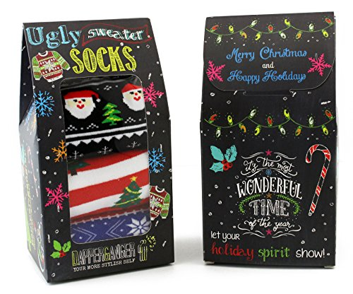 Mens Colorful Socks Ugly Sweater Black Santa Edition By DapperGanger