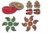 JERN Handicraft Deisgner Diwali Rangoli (Pack of 5 Color DIY Small Rangoli with Haldi Kumkum plate, shubh Labh and Pagliya)