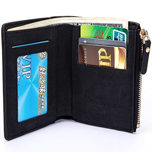 Baborry-Herren Gents Luxus Brieftasche Mit KRotitkarte ID Tasche & Reißverschluss Münztasche Schwarz