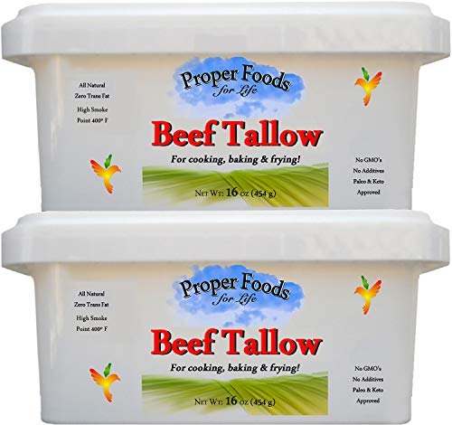 100% Grass-Fed Beef Tallow for Cooking, Baking and Frying