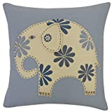 Vivai Home Dusty Blue Circus Elephant Square 16x 16 Feather Cotton Pillow