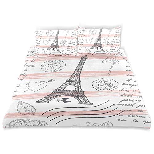 KVMV Paris Vintage Pattern Eiffel Tower Duvet Cover Set Design Bedding Decoration Queen/Full 3 PC Sets 1 Duvets Covers with 2 Pillowcase Microfiber Bedding Set Bedroom Decor Accessories
