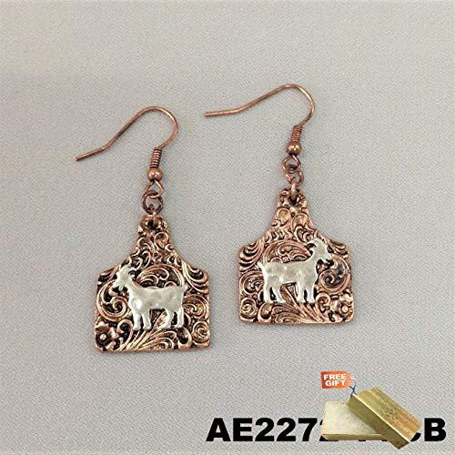 Floral Pendant Clip Earrings - Animal Farm Goat Silver Finish Rose Gold Square Pendant Dangle Hook Earrings For Women Set + Gold Cotton Filled Gift Box