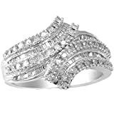 Sterling Silver 0.50ct TDW White Diamond Bypass anniversary ring