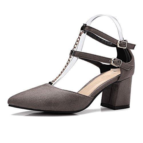 VogueZone009 Damen Schnalle Mittler Absatz Blend-Materialien Rein Spitz  Zehe Pumps Schuhe Kamel Farbe