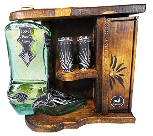 Mextouch Cowboy Boot Decanter With 3 Shot Tequila Glasses]()