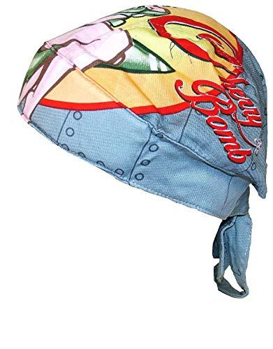 Danbanna Deluxe Cherry Bomb Retro Pin Up Girl Durag Head Wrap Biker Skull Cap Helmet Liner (Deluxe Cap Skull)