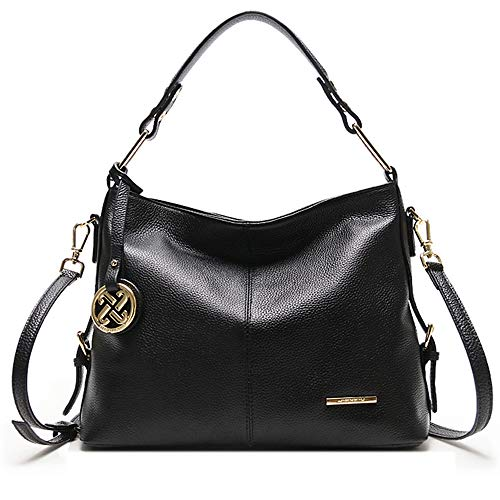 Cooserry Hobo Handbags, Genuine Leather Shoulder Crossbody Zipper Bag with Pockets for Women, Black/Light Blue/Rose Pink