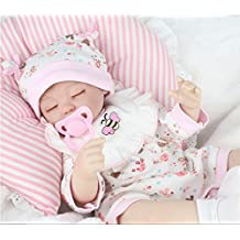 AMPretty Lifelike Reborn Baby Dolls Soft Silicone 18inch Real Girl/Boy Baby Dolls Lovely Christmas Gift For Ages 3+ (Zoey)