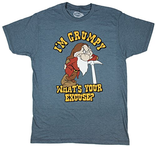 Disney I'm Grumpy Dwarf Snow White T-shirt (Large, Navy ()
