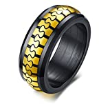 Best Mealguet Jewelry Friend Black Rings - Mealguet Jewelry 8mm Two-tone Gold Black Stainless Steel Review