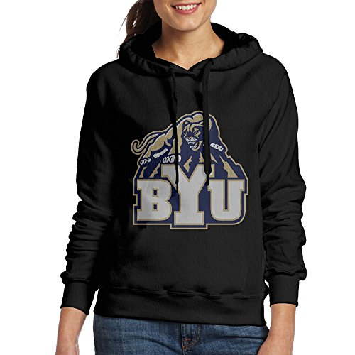 FUOALF Women's Pullover Brigham Young University BYU The Y Cougars Hooded Sweatshirt Black L
