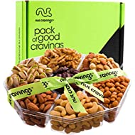 Gourmet Gift Basket Assortment, Fresh Nut Mix Tray (7 Variety) - Edible Care Package Set, Birthday Party Food Arrangement Platter - Healthy Snack Box for Families, Women, Men, Adults - Prime Delivery