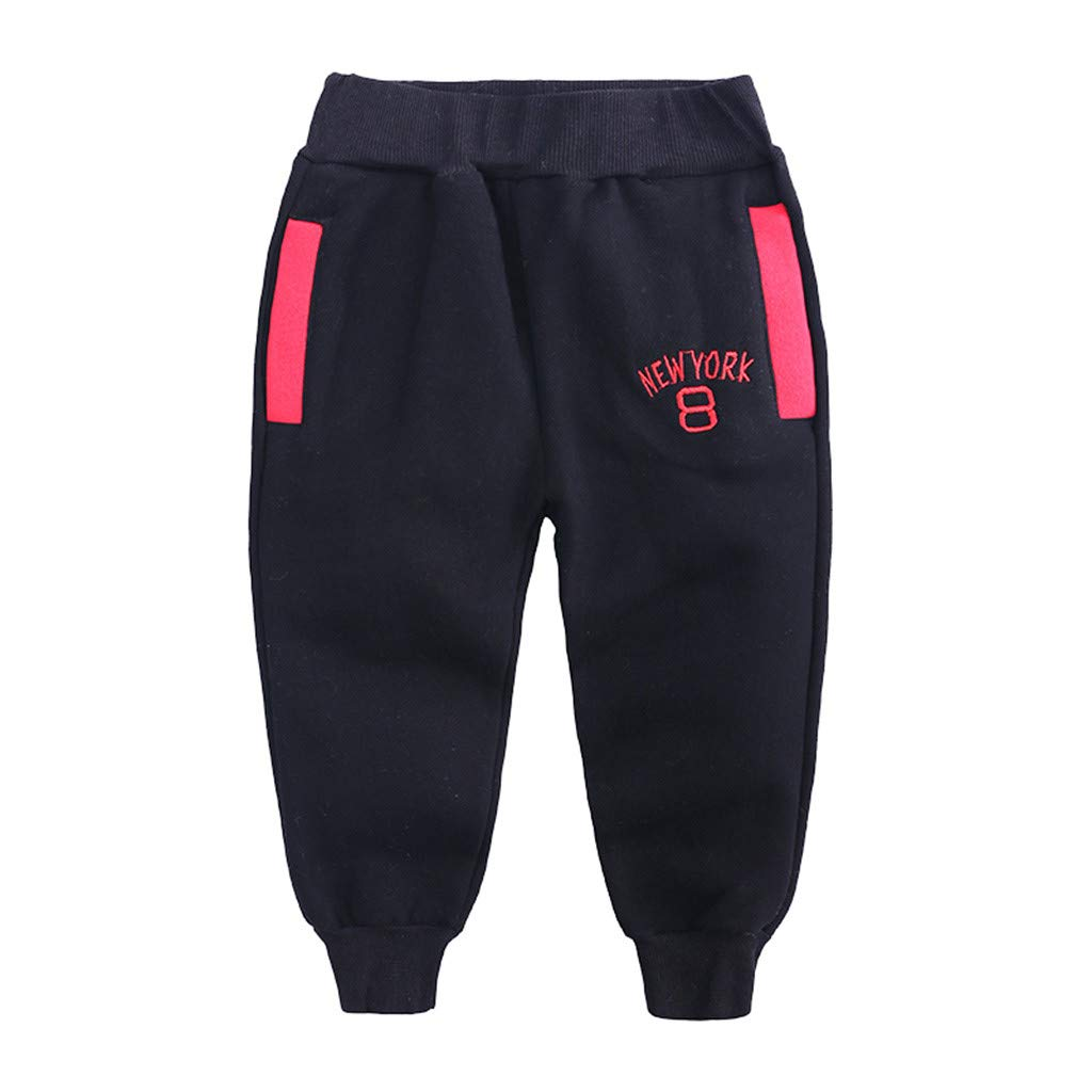 Lanhui Childrens Letter Printed Casual Sweatpants Pants Cotton Blend Comfortable Trousers