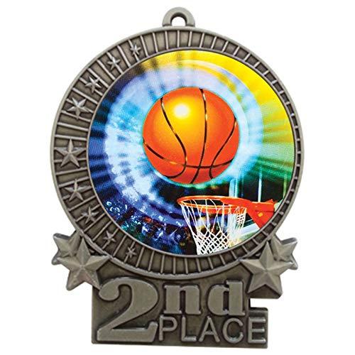 エクスプレスメダル 150パック 3インチのバスケットボールセカンドプレイスのシルバーメダル ネックリボン付き XMDMY4 B07G7Q133Z  50
