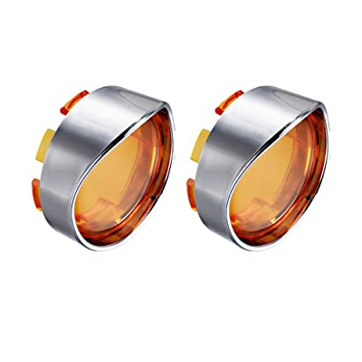 NTHREEAUTO Turn Signal Visors Lights Lens Covers Compatible with Harley Dyna Fatboy Softail Road Glide(Qty:2, Amber): Automotive