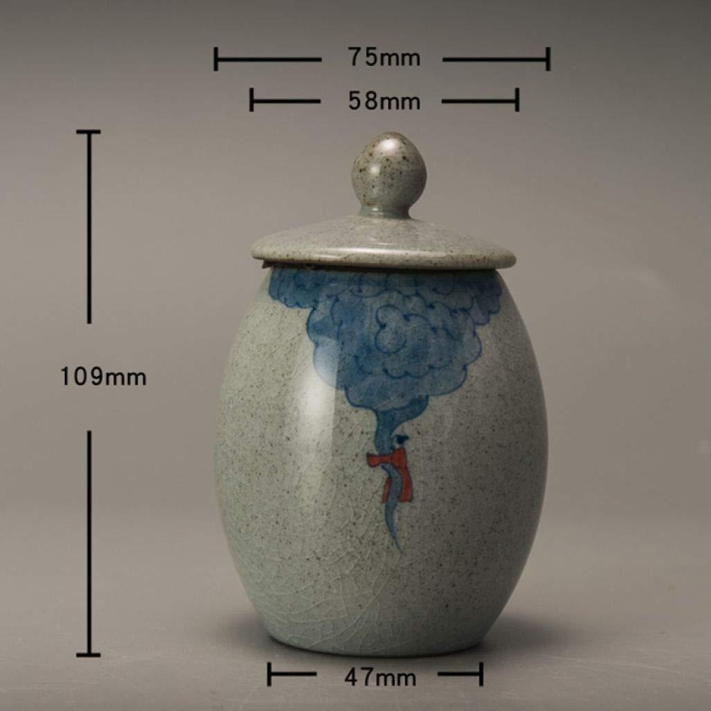 Retro Coarse Pottery Tea Caddy Hand Painted Kung Fu Tea Set Tea Cans Ceramic Sealed Jar Storage Bottle Home Decor by BERTERI (Image #5)
