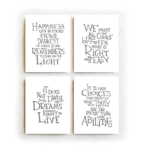 Harry Potter/Albus Dumbledore Quotes - Set of Four, Black and White Typography Print on Archival Matte Paper