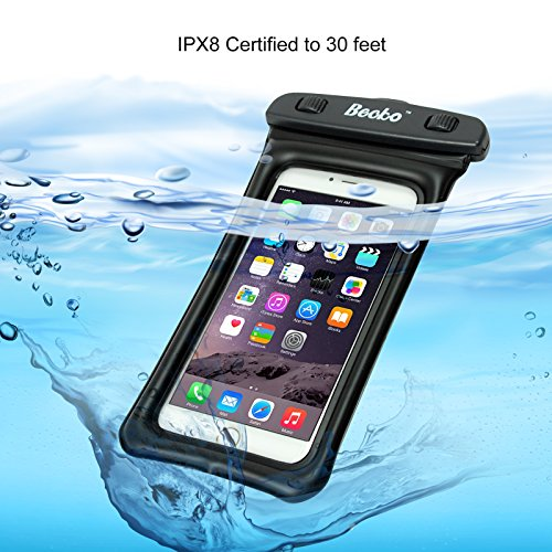 "Becko Waterproof Bag Case Pouch Triple Top Closure Strip Seal System Dry Bag Protect Phone, Camera, Watch, Cards, Wallet, Keys From Water, Sand, Dust, Dirt. (Up to 5.5"" Mobile Phone, Black )"