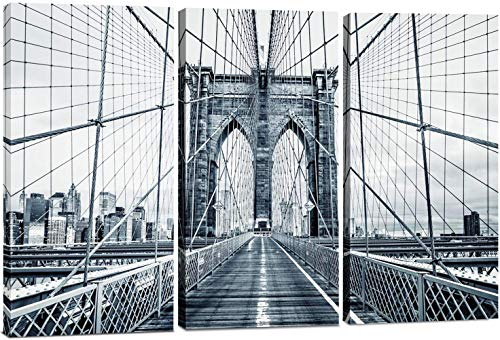 Canvas Wall Art Decor -12x24 3 Piece Set (Total 24x36 inch) B&W Brooklyn Bridge NYC - Decorative & Modern Multi Panel Split Canvas Prints for Dining & Living Room, Kitchen, - Bridge Canvas Print