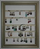 Earring Holder - Holds 100 pair - Made with a 10''x13'' Picture Frame - Wall Mounted - Available in 4 Colors – Champagne Gold