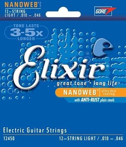 Amazon.com: CUERDAS GUITARRA ELECTRICA - Elixir 12450 Nanoweb (12 Cuerdas Light) Juego Completo 010 A la 046: Musical Instruments