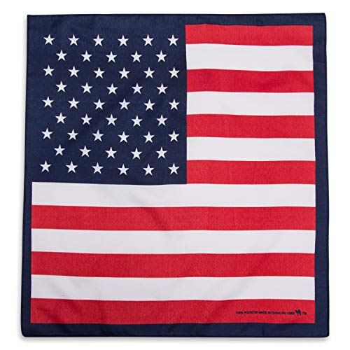 Camel Brand Bandana 12 Pack 21x21 100% Polyester (US Flag -