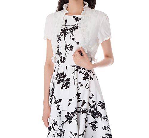 Short Ruffle Sleeve Cardigan (Kate Kasin Womens Ivory Bolero Shrug Cropped Bolero Cardigan Ivory,S)