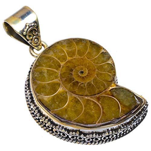 (Natural Ammonite Fossil Handmade Vintage 925 Sterling Silver Pendant 1.75
