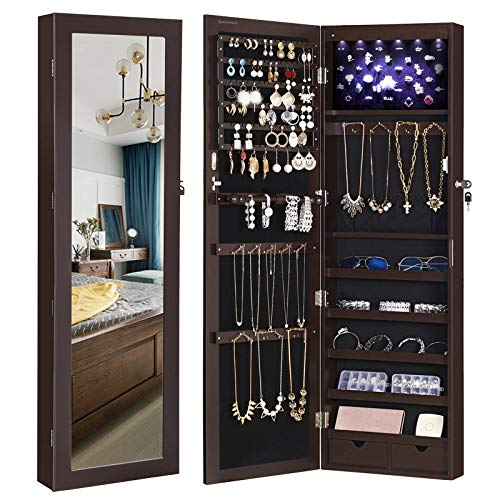 SONGMICS 6 LEDs Jewelry Cabinet Lockable Wall/Door Mounted Jewelry Armoire Organizer with Mirror, 2 Drawers, Dark Brown UJJC93K from SONGMICS