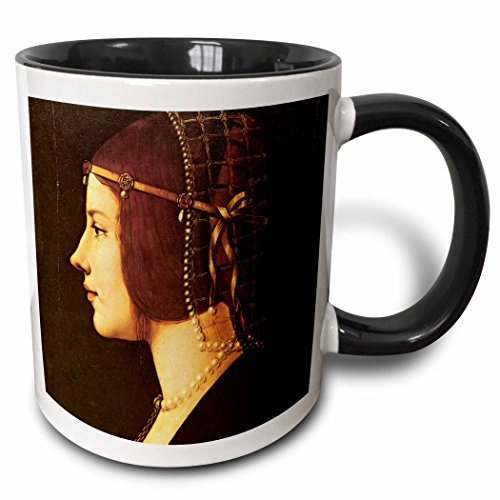 3dRose BLN Leonardo da Vinci Collection - Portrait of Beatrice DEste by Leonardo da Vinci 1491-15oz Two-Tone Black Mug (mug_126662_9)