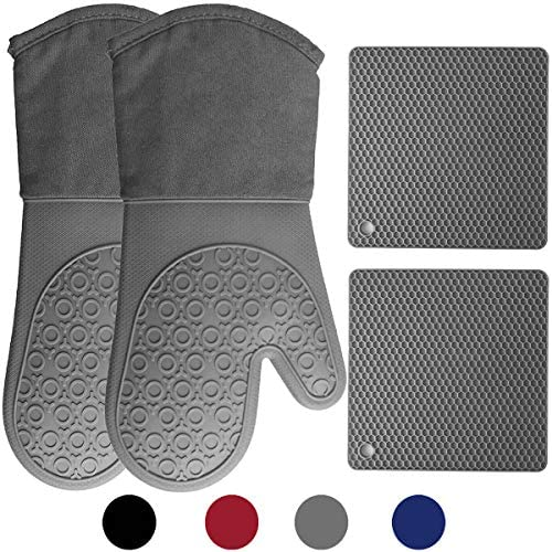 HOMWE Silicone Oven Mitts and Pot Holders, 4-Piece Set, Heavy Duty Cooking Gloves, Kitchen Counter Safe Trivet Mats, Advanced Heat Resistance, Non-Slip Textured Grip, Gray