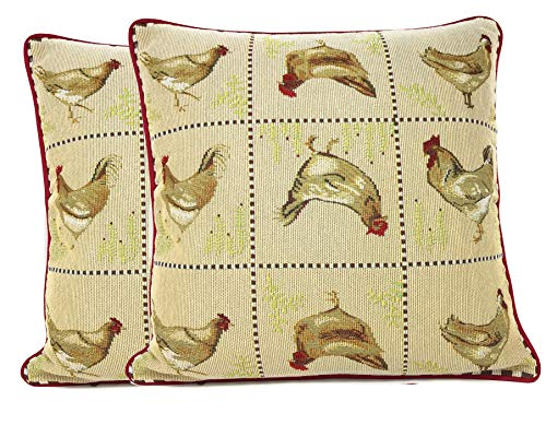 use Rooster Hens Chickens Antique Vintage Traditional Home Decorative Woven Tapestry Cushion Throw Pillow Cover, 16 x 16, 2 Pieces ()
