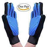 Pawsing Pet Grooming Glove,Dog Cat Massage Tool Hair Remover Mitt,Horse Gentle Deshedding Brush Long & Short Fur Comb, Five Finger DesignBathing Brush,Blue (1 pair)