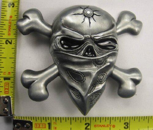 Bandana Skull Metal Belt Buckle Bullet Gang Banger Gangster Pirate New