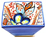 ART ESCUDELLERS Ceramic Squared Bowl Nº3, Handmade and Handpainted in Flower Decoration.4,33'' x4,33 x2,36 (Blue Marine Flower)