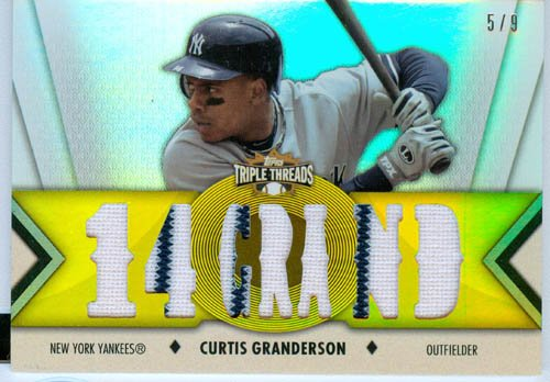 2012 Topps Triple Threads Authentic Curtis Granderson Gold Game Worn Jersey Card #'d 3 of 9