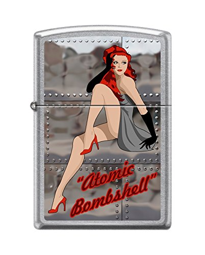 (Zippo Custom Lighter Design Sexy Lady in Heels with Atomic Bombshell Inscribed Windproof Collectible - Cool Cigarette Lighter Case Made in USA Limited Edition & Rare)