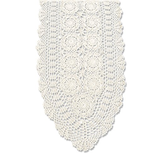 (KEPSWET Cotton Handmade Crochet Lace Oval Table Runner Beige 14x36 inch)