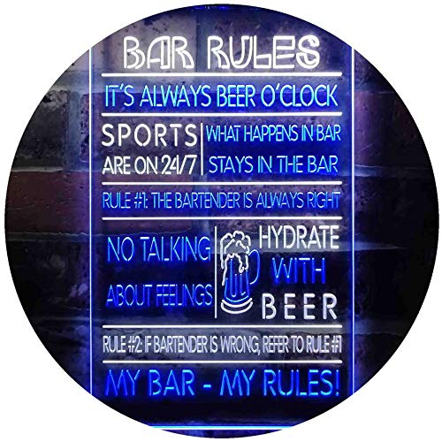 """ADVPRO My Bar My Rules Man Cave Home Bar Beer Décor Dual Color LED Neon Sign White & Blue 12"""" x 16"""" st6s34-i3414-wb"""