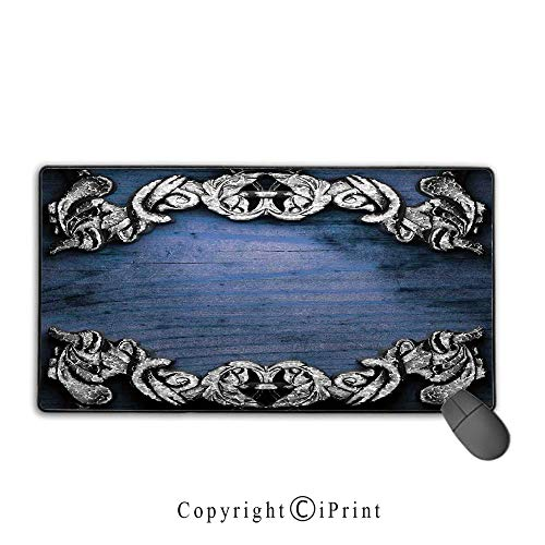 Stitched edge mouse pad,Victorian Decor,Iron Ornament on Wooden Background Great Britain Gothic Revival Art Peace Print,Silver Dark Blue,Suitable for laptops, computers, PCs, keyboards,15.8