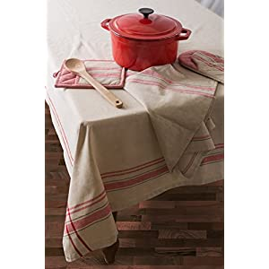 "DII 100% Cotton, Machine Washable, Everyday French Stripe Kitchen Tablecloth For Dinner Parties, Summer & Outdoor Picnics - 70"" Round Seats 4 to 6 People, Red"