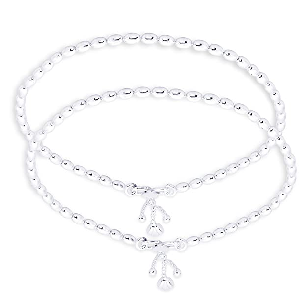 Taraash Single Line Plain Ball Ending with Charm 925 Sterling Silver Anklet For Women AN0523S Women's Anklets at amazon