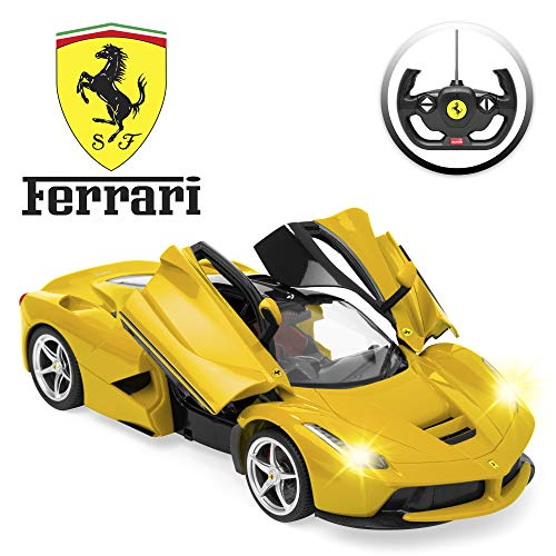 Best Choice Products Kids 27 MHz, 1/14 Scale Licensed Ferrari RC Car with Lights, 5.1 MPH, Yellow ()