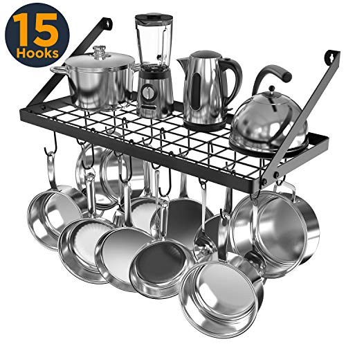 Vdomus Square Grid Wall Mount Pot Rack, Kitchen Cookware Hanging Organizer with 15 Hooks,29.3 by13-inch (Black) ()