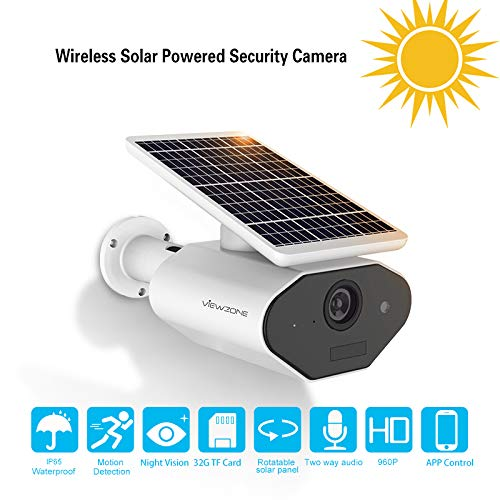 Outdoor Solar Powered Security Camera Low Power Rechargeable Battery Wire Free Solar WiFi Camera 960P IP66 Waterproof Outdoor Wireless Security Camera,Night Vision,Motion Detection,for Android and iOS