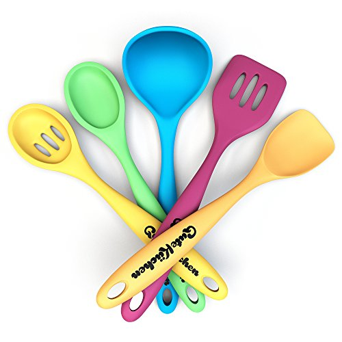"GuteKüchen Premium 5 Piece Seamless Silicone 11"" Kitchen Utensil Set, Nonstick and Heat Resistant 