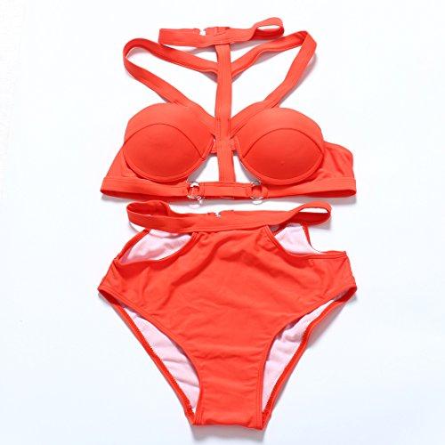 YONGYI Europa y el verano la Sra. Sandy Beach y de dos piezas traje de baño dividida bra bañador temperamento y bikini traje de baño Naranja